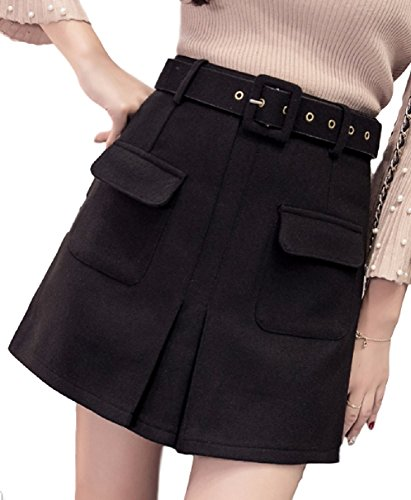【ACE FACTORY】レディース ショートスカート Aラインスカート 美脚 台形 厚手 キュート カジュアル エコバック付き(ブラック 2XLサイズ)