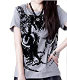 Sta.ANA(サンタ・アナ) 猫 プリント 半袖Tシャツ グレー 灰色 M