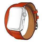 Watch バンド ドゥブルトゥール SUNKONG® レザーストラップ 本革 二重巻き Apple Watch 対応 バンド 4色選べる(38mm, フー)