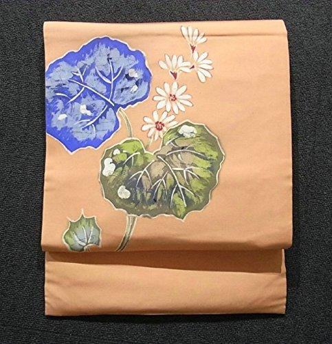 リサイクル 名古屋帯 塩瀬 蕗の葉と花模様 正絹