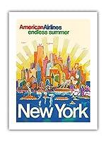 ニューヨーク - アメリカン航空 - 無限の夏 - ビンテージな航空会社のポスター によって作成された ハリー・ヴェンツィンガー c.1971 - プレミアム290gsmジークレーアートプリント - 30.5cm x 41cm