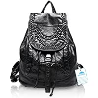 Woolala Leather Women Girls Ladies Backpack Travel School Bag Casual Daypack Rivet and Woven Purse