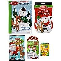 Rudolph The Red-Nosed トナカイ5点セット ホリデーアクティビティギフトまたはクリスマスストッキングスターターセット - 塗り絵ブック アクティビティパッド プレイパック ステッカー付き ブックレット クレヨラクレヨン