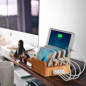 EReach 竹製 充電ステーション、5ポート同時急速充電器内蔵多功能充電スタンド スマホ タブレット Apple Watch Series 2対応