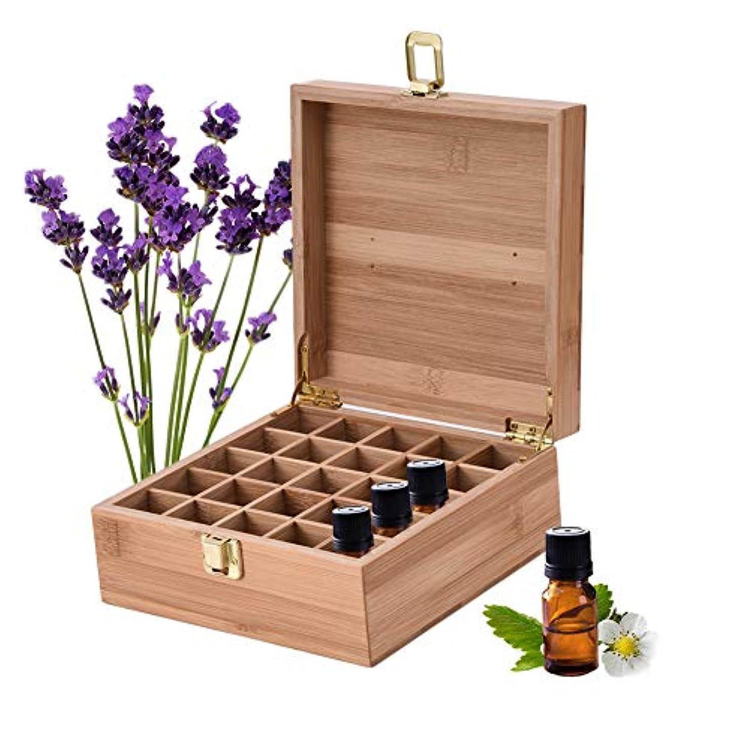 成分種をまくずるいエッセンシャルオイル収納ボックス 25本用 竹製エッセンシャルオイルボックス メイクポーチ 精油収納ケース 携帯用 自然ウッド精油収納ボックス 香水収納ケース