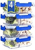 [Premium 4 Pack] 2 Compartment Glass Meal Prep Containers 8-Piece Set with Snap Locking Lid, BPA-Free, Airtight, Leakproof, Microwave, Oven, Freezer, Dishwasher Safe (3.5 Cup, 830ml, Rectangle)