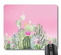 緑のサボテン熱帯砂漠多肉植物マウスパッド、ピンクのサボテンの花かわいいマウスパッド