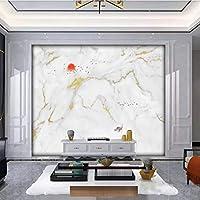 Hershop カスタムモダンジャズ白大理石パターン背景壁紙壁画-350X250CM