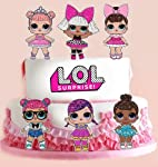 6 LOL Dolls & 2 Logo Stand UP Edible Cupcake Cup Cake Toppers Decoration Images