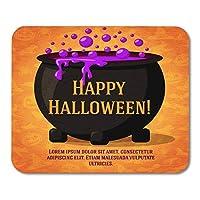 マウスパッドHappy Halloween Cute Retro on the Craft with Black Witch Cauldron Boiling Potion with Greeting and Place Mouse Mats