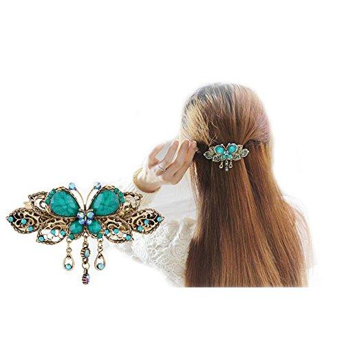 ヘアアクセサリー バタフライバレッタ 髪留めヘアピン おしゃれ髪飾り 結婚式 パーティー (グリーン)