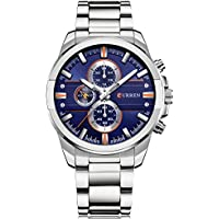 CURREN 8274 Mens Stainless Steel Date Quartz Analog Sport Casual Stylish Wrist Watch (Silver Belt, Blue Dial)