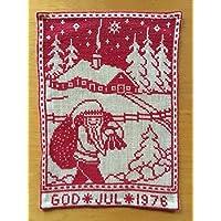 北欧スウェーデンクリスマスの夜<1976年>トムテ(サンタクロース)がプレゼントを届けるよ~クロスステッチ刺繍壁掛けタペストリ
