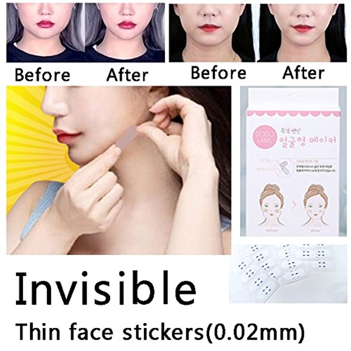 比率アクセシブル起きろ2 box 80pcs lift face sticker Thin face stick face artifact invisible sticker lift chin Medical tape makeup face...