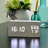 Damjic Led アラーム音木のシンプルなベッドサイド・モニタのアラーム時計温度湿度電子時計 150 * 45 * 70 Mm C