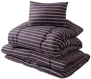 mofua 寝具3点セット(掛・敷・枕) 東レ マッシュロン綿使用 ストライプ柄 シングル ブラウン 47370106