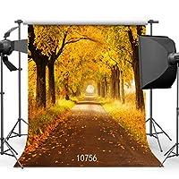 GooEoo 8 x 8フィート秋背景美しい木自然風景ビニール写真写真背景スタジオ小道具10756