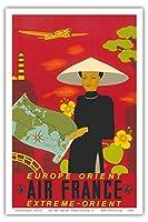 ヨーロッパ - 東洋 - 極東 - エアフランス - ビンテージな航空会社のポスター によって作成された ルシアン・ブーシェ c. 1937 - アートポスター - 31cm x 46cm