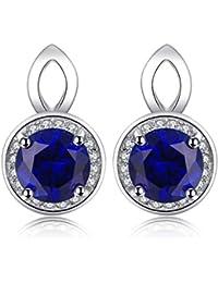 JewelryPalace 2.4ct 人工 ブルー サファイア ゆれる 9月 誕生石 スターリング シルバー925 ピアス レディース 人気
