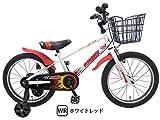 ビスマーク 18インチ ホワイト×レッド 補助輪付き 組み立て式 子供用自転車 幼児自転車