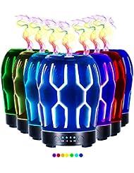 エッセンシャルオイル用ディフューザー (100ml)-クリエイティブガラスハッカーマトリックスアロマ加湿器7色の変更 LED ライト & 4 タイマー設定、水なしの自動シャットオフ