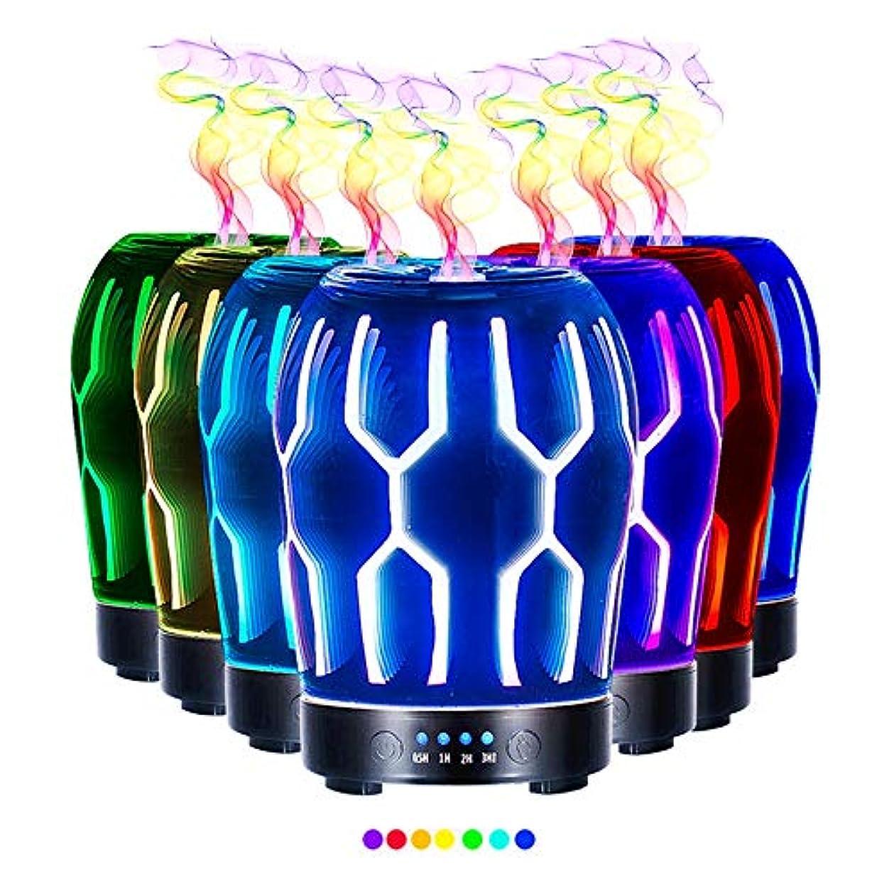備品肉の退屈させるエッセンシャルオイル用ディフューザー (100ml)-クリエイティブガラスハッカーマトリックスアロマ加湿器7色の変更 LED ライト & 4 タイマー設定、水なしの自動シャットオフ