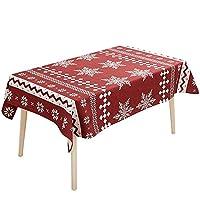 スノーフレーク/鹿の柄赤いテーブルクロス北欧の現代的な長方形のコーヒーテーブルクロスデスククロスマルチユーズの布カバーダスト布 (サイズ さいず : 110*170CM, 三 : A)