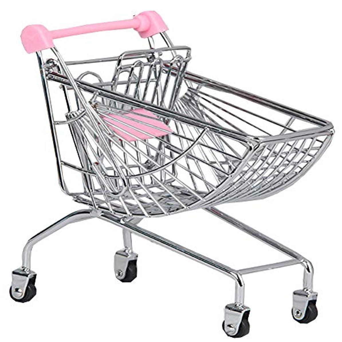 占める労働者石炭ミニショッピングカートおもちゃミニスーパーマーケットハンドカート、デスクトップ収納、ピンク#10