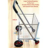 Large Folding Shopping Cart Swivel Front Wheels Oversize Back Wheels Sponge Handle (Larger Metal Shopping Trolley)