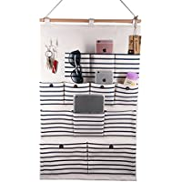 (12 Pockets With Pothook) - VIVIMONKEY Linen Cotton Fabric Multi Pockets Wall Door Cloth Hanging Storage Bag Home Organiser - Blue Stripe (12 Pockets With Pothook)