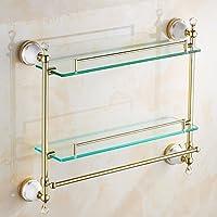 バスルームラックダブルレトロヨーロッパスタイルのガラスフレームタオルラック/バスルーム (色 : ゴールド)