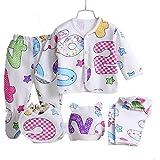 赤ちゃん新生児冬5綿コットン服セット(キャップ+ビブ+パジャマ+パンツ)乳児ケアギフト0-3ヶ月 (B3)