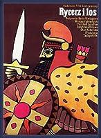 ポスター イェジ フリサク Knight and the Fate、 Boris Kimiagarov 1978 額装品 ウッドベーシックフレーム(ブルー)