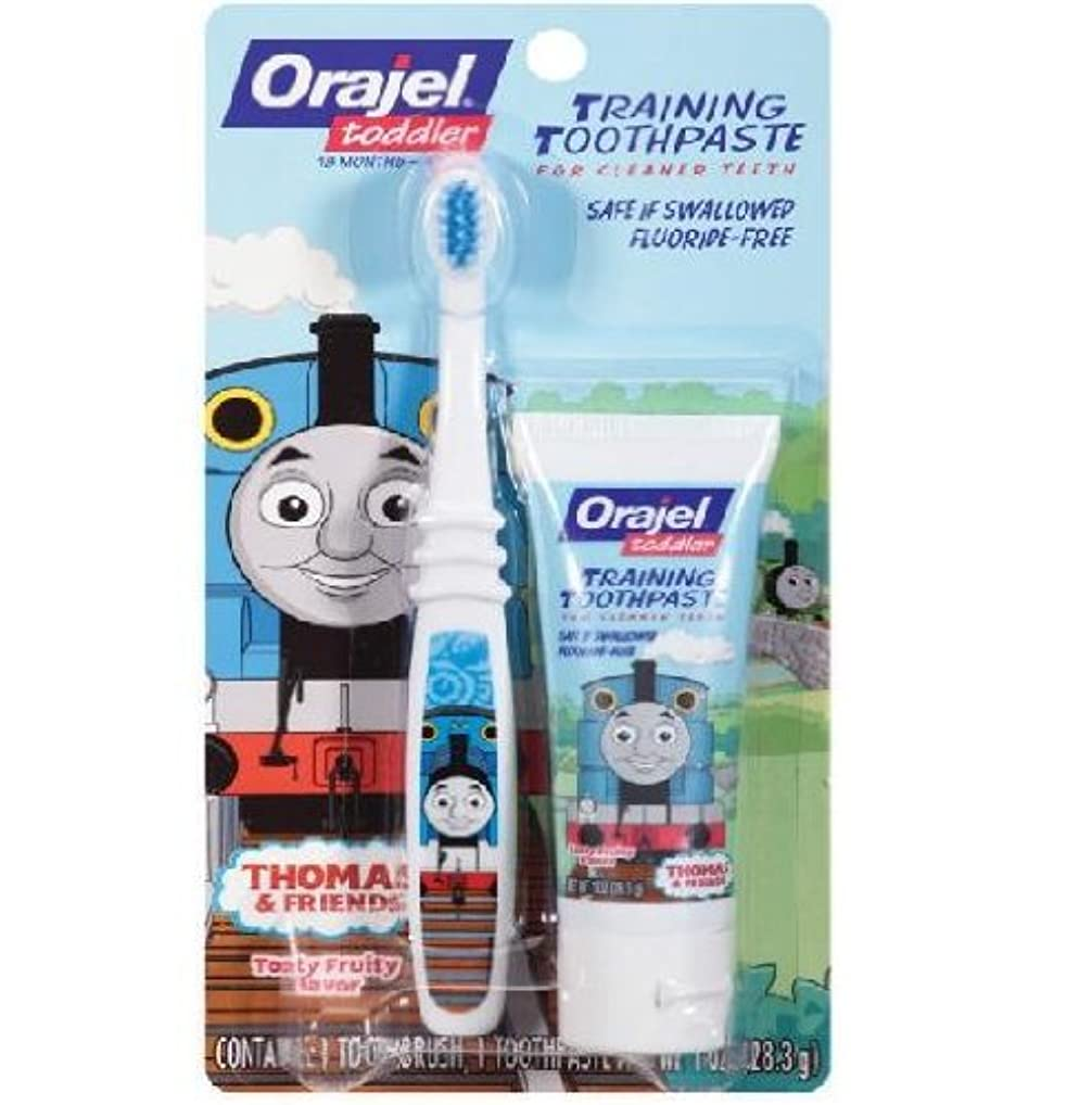 振りかける邪魔する未就学【機関車トーマス】Toddler Thomas Toddler Training Toothpaste with Toothbrush Tooty Fruity 1 oz