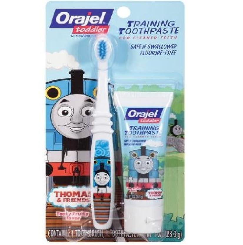 抑制怖がらせる参照する【機関車トーマス】Toddler Thomas Toddler Training Toothpaste with Toothbrush Tooty Fruity 1 oz