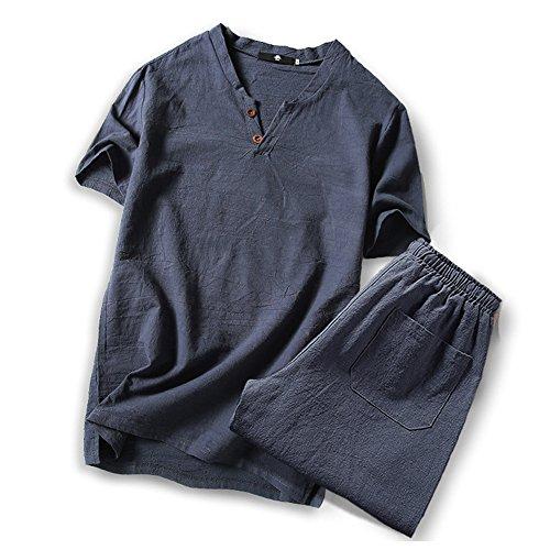 (オリマート)ORI-MART スウェット Vネック 半袖 Tシャツ 麻 無地 ストリート系 カジュアル シャツ メンズ (5XL(日本サイズ4L相当), グレー-上下セット)