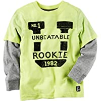 Carter's Boy's Long Sleeve Layered Sports Tee Unbeatable Rookie; Yellow (4)