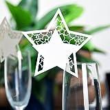 Hyaline&Dora デザイン食具飾りカード 結婚式 ワイングラス 飾りカード 名場所カード デコレーション 席札 メッセージ用カード1パック12枚 (5パック, 黄色星)