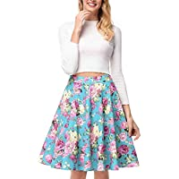 Zooka Vintage Retro Floral Print Skirts Womens High Waist Rockabilly Pleated Hepburn Style Midi Swing Ball Gown Skirt