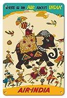 22cm x 30cmヴィンテージハワイアンティンサイン - エア?インディア - インドについての空気がある - ハウガのマハラジャ(馬車)、リーガルのゾウ - ビンテージな航空会社のポスター c.1965