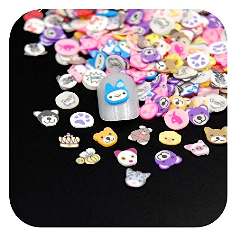出発秘書アクセル新しい高品質動物スライス3Dポリマークレイネイルアートデザインdiy装飾ネイルパッチ