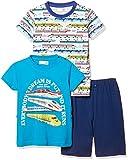 [マザウェイズ] コットンバッグ入り トップス2枚入り 半袖パジャマ ボーイズ 4101C 全5柄 ターコイズ 日本 90.0 (日本サイズ90 相当)