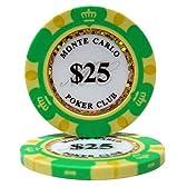 【ノーブランド品】モンテカルロ 13.5g ポーカーチップ 25枚セット グリーン $25