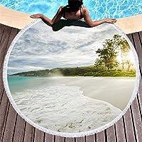 Ta-weo 円形のヨガのマット150cmの海タッセルサボテン毛布ピクニックマイクロファイバーで印刷された円形のビーチタオル150×150素晴らしい (Color : 61, Size : 150CM)