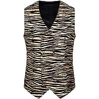 chenshiba Men's Double Breasted Vest Dress Vest Slim Fit Printed Formal Suit Vest Waistcoats