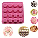 Sannysis Silicone Cat Paw Print Cookie Cake Candy Chocolate Mold Soap Ice Cube Mold