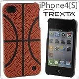[SoftBank/au iPhone 4S/4専用]TREXTA 本革張りハードケース スポーツ(バスケットボール)