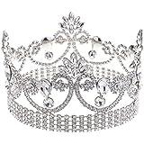 Perfk 花嫁 バロック 女王 ラインストーン 花 王冠 ティアラ ヘッドピース 素晴らしい ブライダル ヘアアクセサリー 銀色