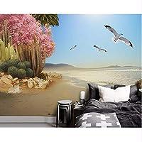 Wuyyii 壁紙カスタム3D海辺の熱帯植物の花と鳥の背景の壁の写真のリビングルームの壁画壁紙-280X200Cm