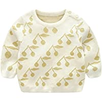 LOSORN ZPY Baby Girl Sweater Cotton Toddler Golden Cherry Knit Pullover Sweatshirt